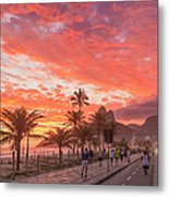 Sunset Over Ipanema Beach Metal Print