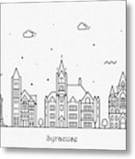 Syracuse, New York Cityscape Travel Poster Metal Print