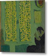 The Green Interior  Figure Seated By A Curtained Window   Metal Print