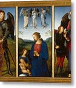 Three Panels From An Altarpiece  Certosa  Metal Print