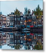 Typical Dutch Houses Reflections Metal Print