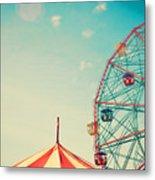 Vintage Colorful Ferris Wheel Over Blue Metal Print