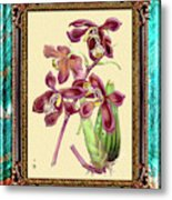 Vintage Orchid Antique Design Marble Caribbean-blue Metal Print