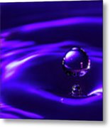 Water Drop Falling Into Water Metal Print