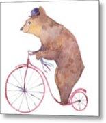 Watercolor Cartoon Bear On Retro Metal Print