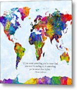 Watercolor World Map Custom Text Added Metal Print