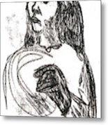 Woman Holding A Hat Metal Print