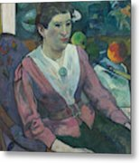 Woman In Front Of A Still Life By Cezanne Metal Print