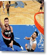 Portland Trail Blazers V Orlando Magic Metal Print