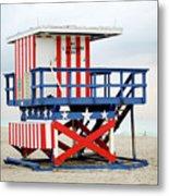 13th Street Lifeguard Tower - Miami Beach Metal Print