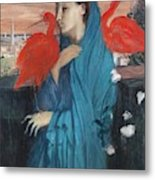Young Woman With Ibis  Metal Print