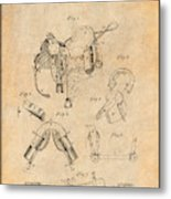 1880 Military Saddle Patent Print Antique Paper Metal Print