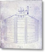 1888 Whiskey Or Beer Barral Patent Blueprint Metal Print