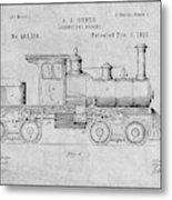 1891 Huber Locomotive Engine Gray Patent Print Metal Print