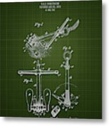 1892 Ships Anchor - Dark Green Blueprint Metal Print