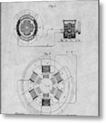 1896 Tesla Alternating Motor Gray Patent Print Metal Print