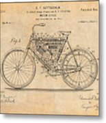 1901 Stratton Motorcycle Antique Paper Patent Print Metal Print
