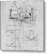 1905 Horse Blanket Patent Print Gray Metal Print