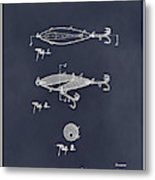 1909 Lockhart Antique Fishing Lure Blackboard Patent Print  Metal Print