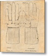 1914 Hockey Gloves Antique Paper Patent Print Metal Print