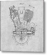 1914 Spacke V Twin Motorcycle Engine Gray Patent Print Metal Print