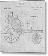 1919 Antique Tractor Gray Patent Print Metal Print