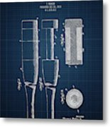 1919 Baseball Bat - Dark Blueprint Metal Print