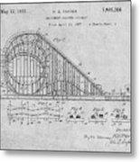 1927 Roller Coaster Gray Patent Print Metal Print