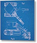1937 Backhoe Excavator Blueprint Patent Print Metal Print