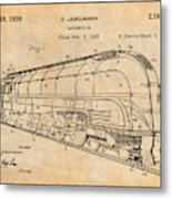 1937 Jabelmann Locomotive Antique Paper Patent Print Metal Print