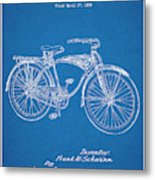 1939 Schwinn Bicycle Blueprint Patent Print Metal Print
