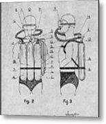 1947 Jacques Cousteau Diving Suit Patent Print Gray Metal Print