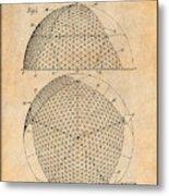 1954 Geodesic Dome Antique Paper Patent Print Metal Print