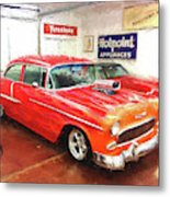 1955 Chevy Blower In The Gorage Metal Print