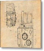 1960 Rolleiflex Photographic Camera Antique Paper Patent Print Metal Print
