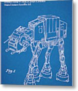 1982 Star Wars At-at Imperial Walker Blueprint Patent Print Metal Print