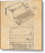 1983 Steve Jobs Apple Personal Computer Antique Paper Patent Print Metal Print