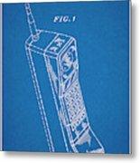 1988 Motorola Cell Phone Blueprint Patent Print Metal Print