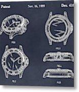 1999 Rolex Diving Watch Patent Print Blackboard Metal Print