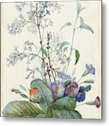 A Bouquet Of Flowers With Insects  Metal Print