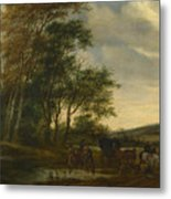 A Landscape With A Carriage And Horsemen At A Pool  Metal Print