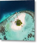 Aerial Drone View Of A Tropical Island, Maldives Metal Print
