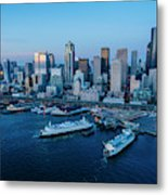 Aerial View Of A City, Seattle, King Metal Print