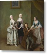 An Interior With Three Women And A Seated Man  Metal Print