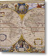 Antique Map Of The World Metal Print