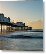 Beautiful Vibrant Sunrise Landscape Image Of Worthing Pier In We Metal Print