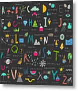 Cute Alphabet. Letters And Words. Learn Metal Print