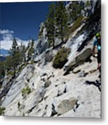 Cyclist On Mountain Road, Lake Tahoe Metal Print