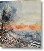 Digital Watercolor Painting Of Beautiful Winter Landscape At Vib Metal Print
