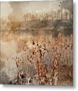 Digital Watercolor Painting Of Landscape Of Lake In Mist With Su Metal Print